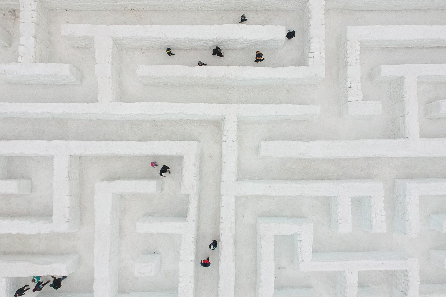 Biggest snow maze in the world in Poland